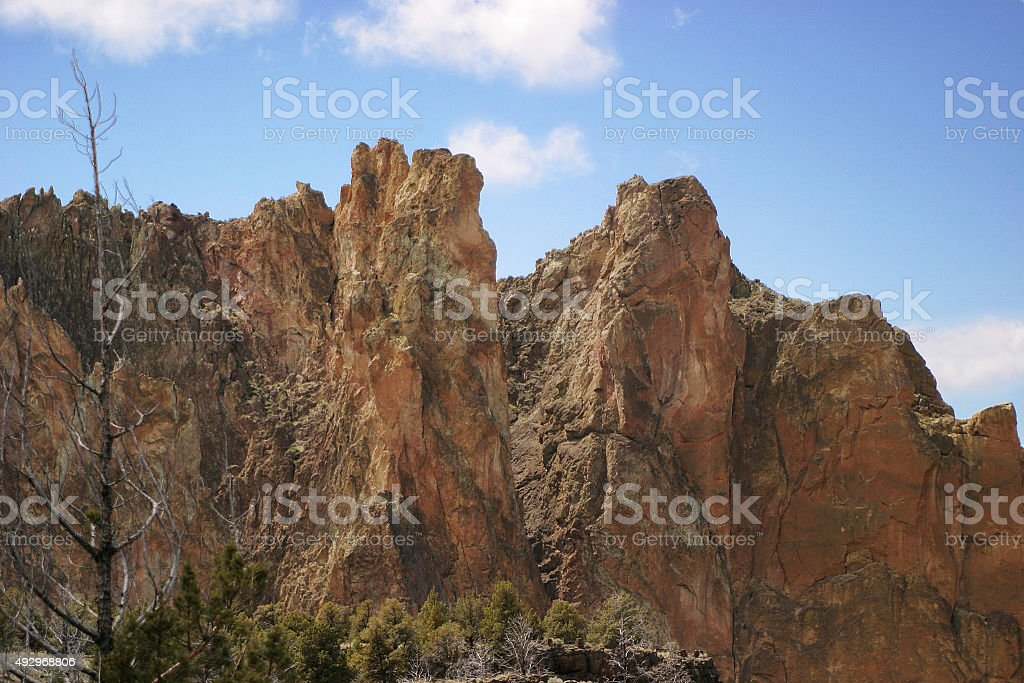 Basalt Rock Formation at Smith Rock stock photo