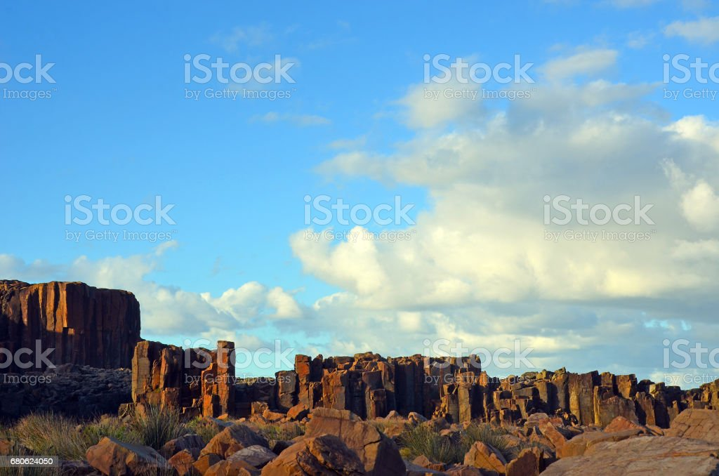 Basalt rock formations at Bombo, NSW coast stock photo