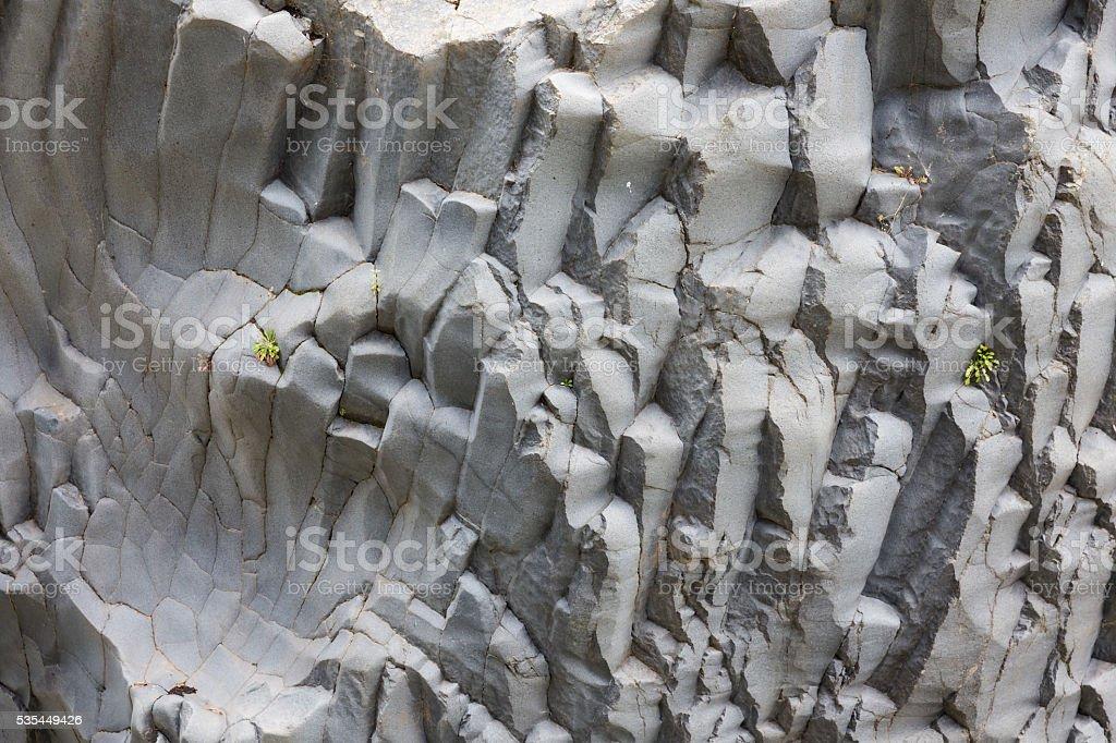 Basalt rock formations at Gole Alcantara on Sicily, Italy stock photo