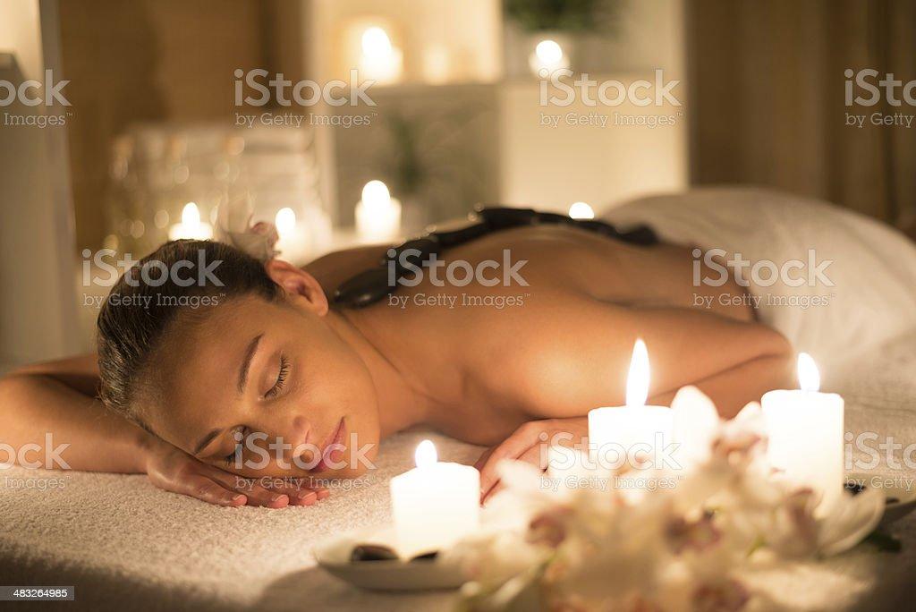 Basalt stone massage royalty-free stock photo