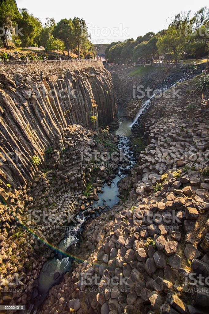 Basaltic Prisms rock formations in Hidalgo Mexico stock photo