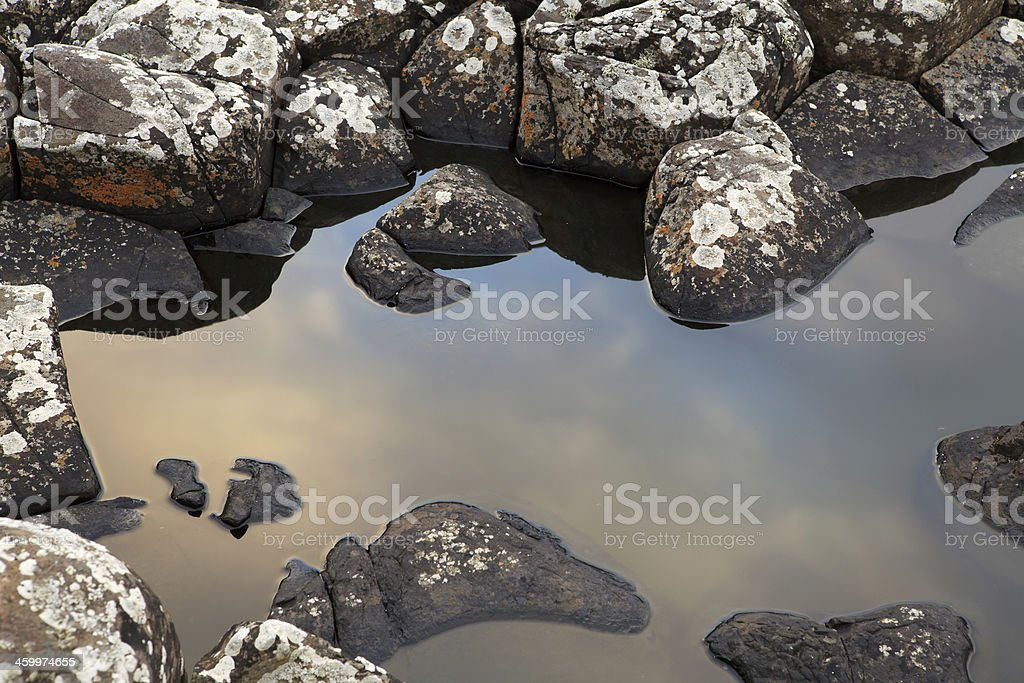 Basaltic rock details of the Giant's Causeway, Ireland. stock photo