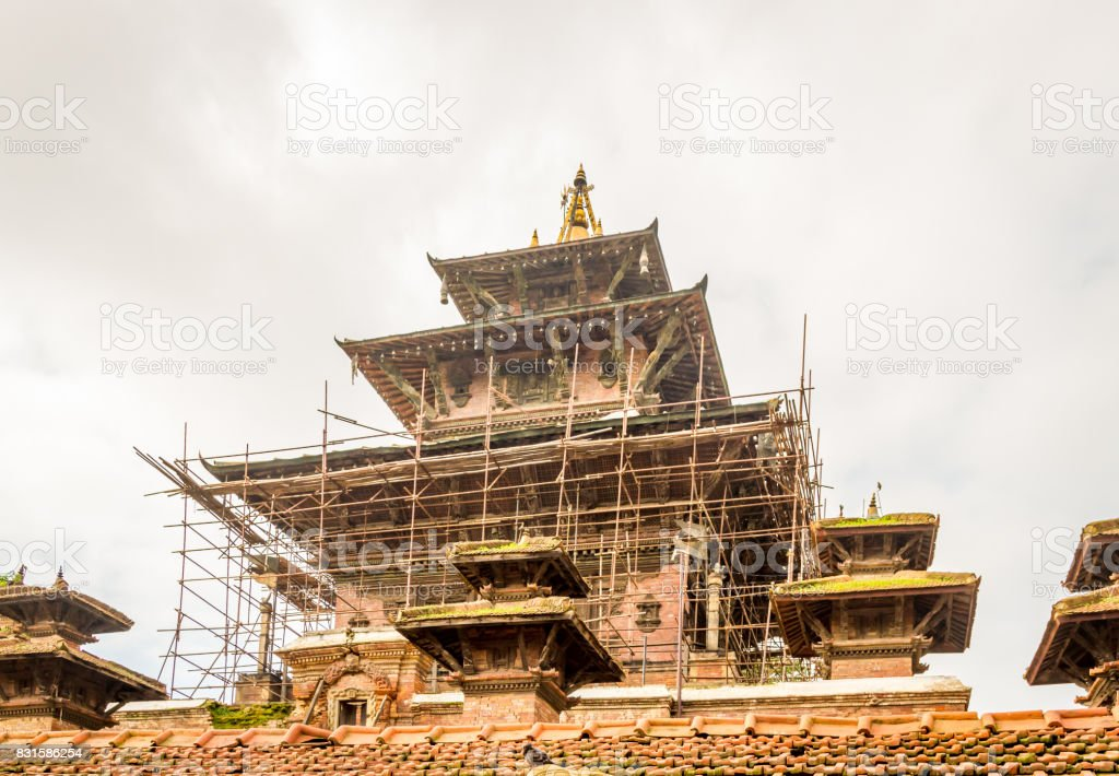 Basantapur Durbar Square Nepal after Earthquake stock photo