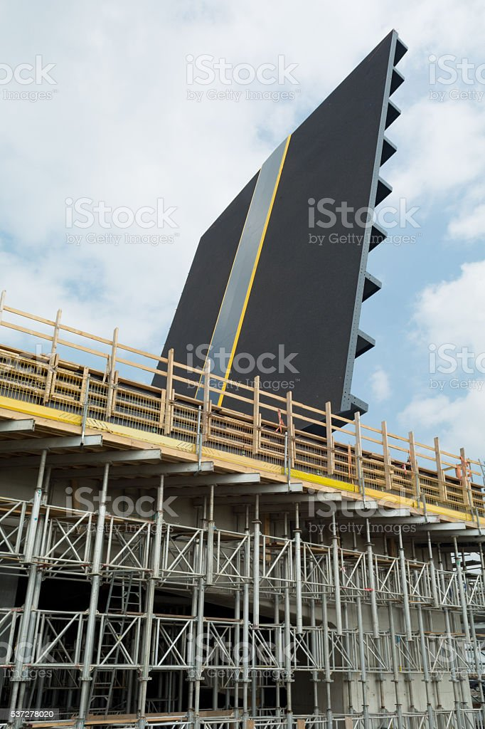 Bascule bridge construction with large scaffolding stock photo