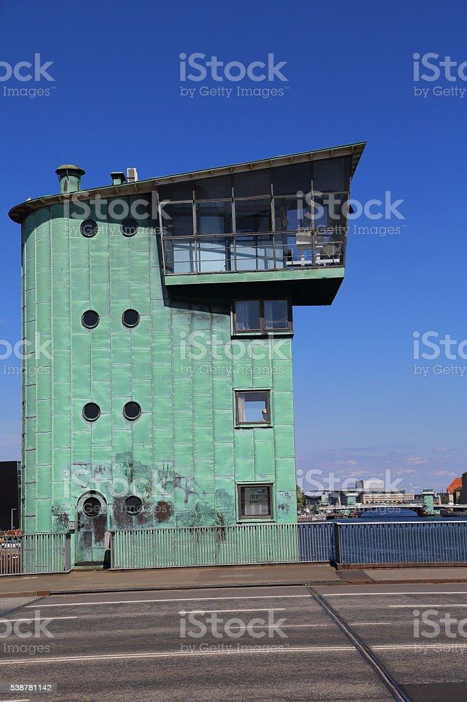 Bascule bridge control tower stock photo
