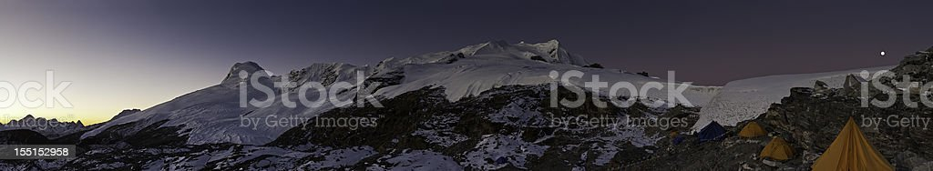 Base camp dawn mountain summit panorama Himalayas Nepal stock photo