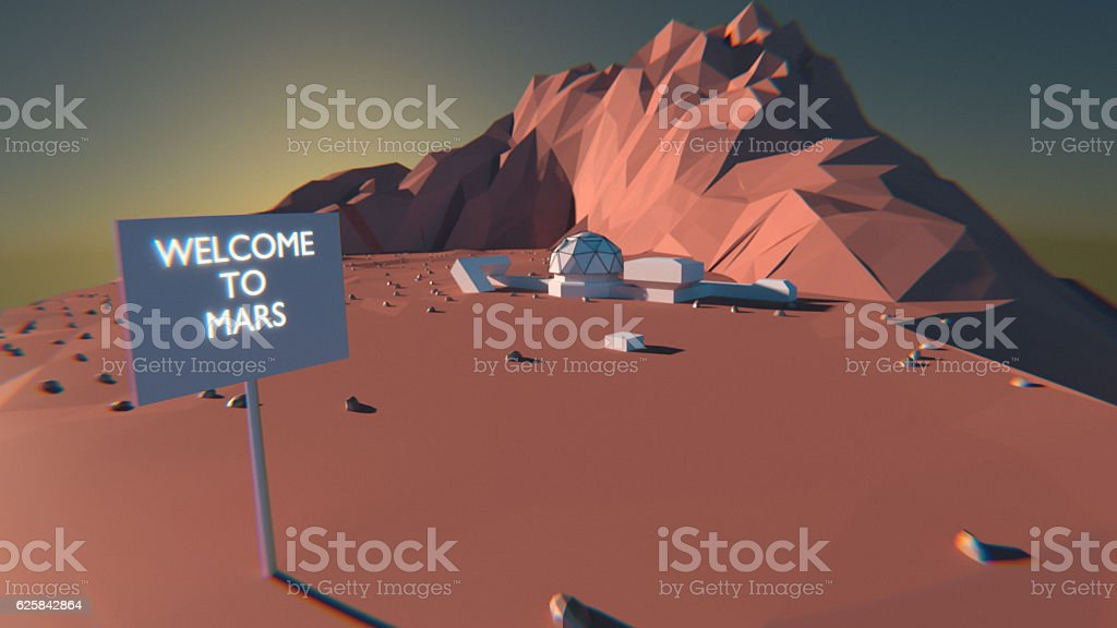 Base Camp Mars Mission stock photo