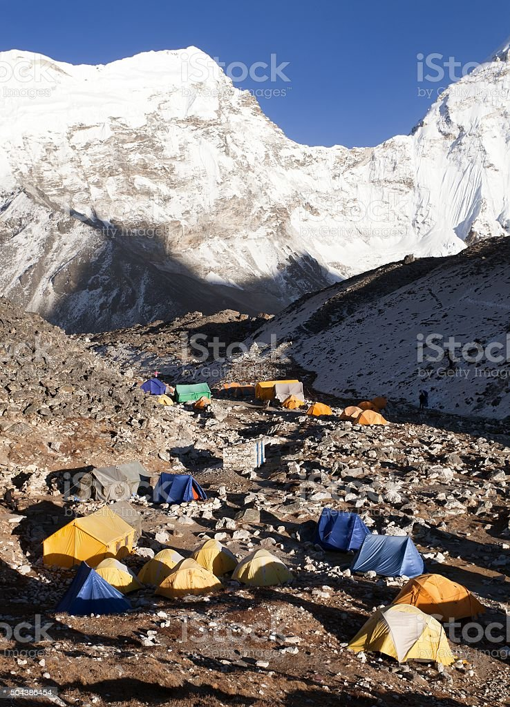 Base Camp of Island Peak (Imja Tse) near Mount Everest stock photo