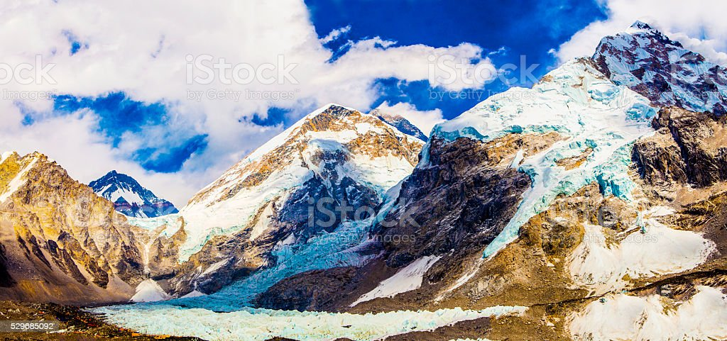 Base Camp View of Changtse, Everest, Nuptse and Khumbu Icefall stock photo