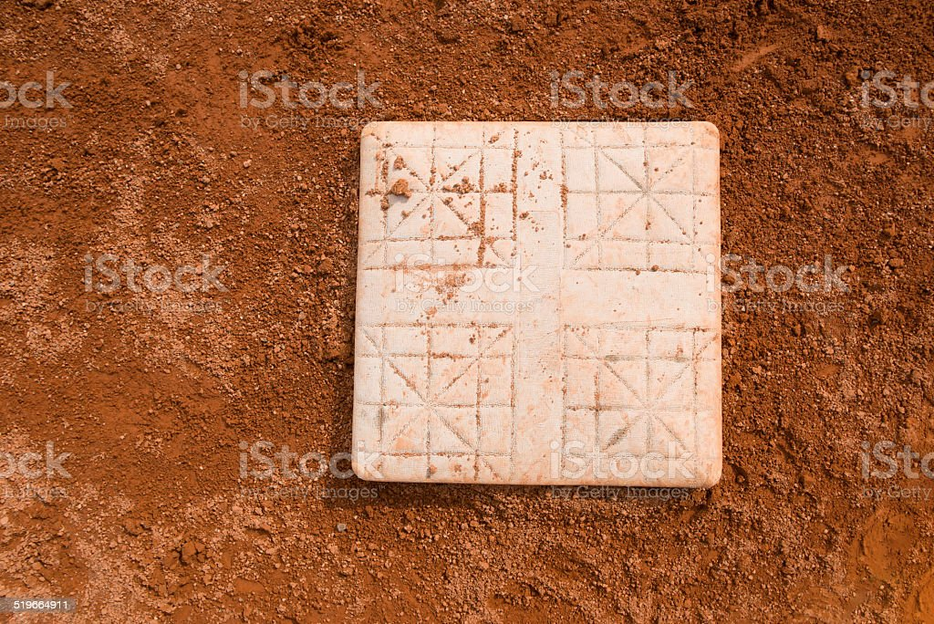 base in a baseball field close up stock photo