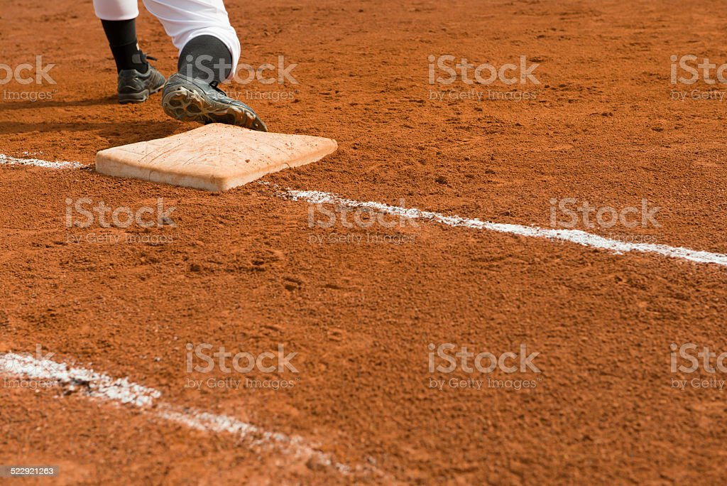 Base man in a baseball game stock photo