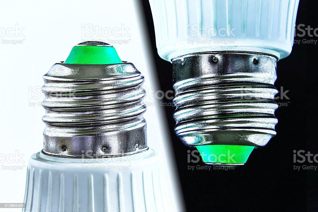 Base of a Screw Type ECO LED bulb macro stock photo