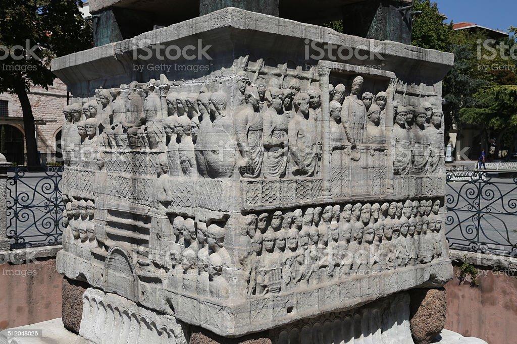 Base of the Obelisk of Theodosius in Istanbul, Turkey stock photo