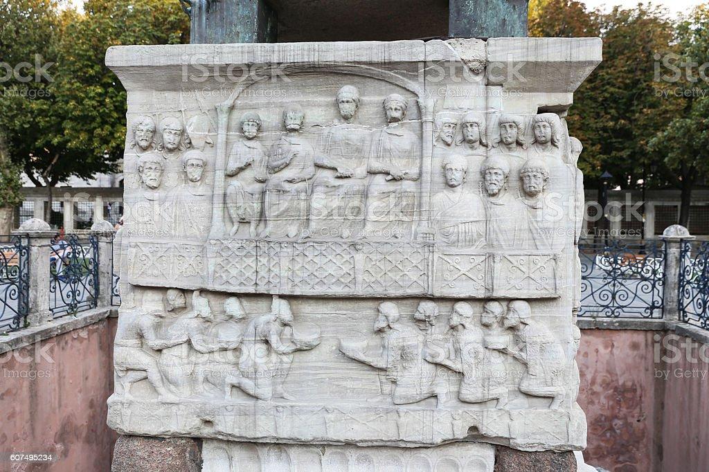 Base of the Obelisk of Theodosius stock photo
