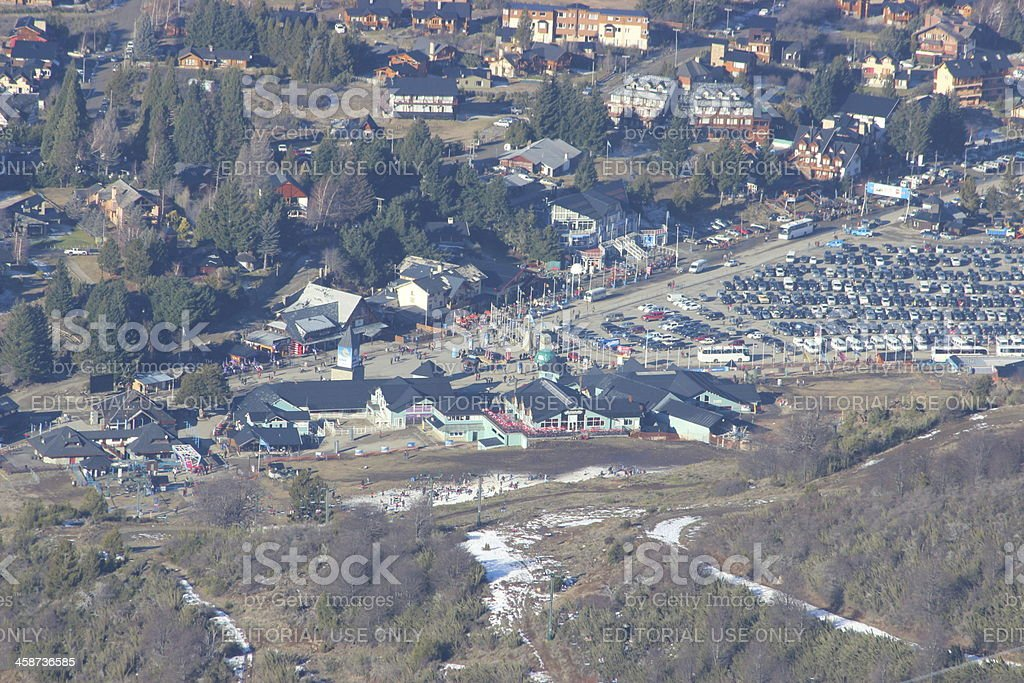 Base of the Ski Resort at CERRO CATEDRAL - aerial stock photo
