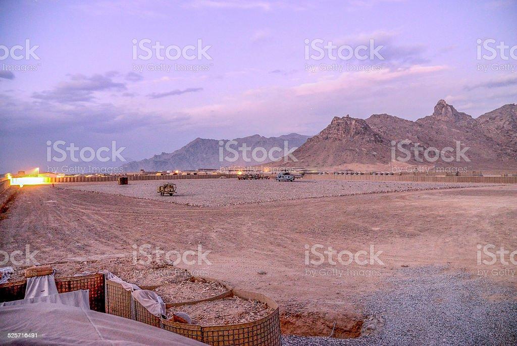 Base, Otan, militaire, nuit, Héliport stock photo