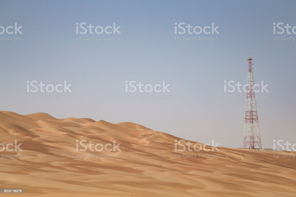 GPS base station in a desert stock photo