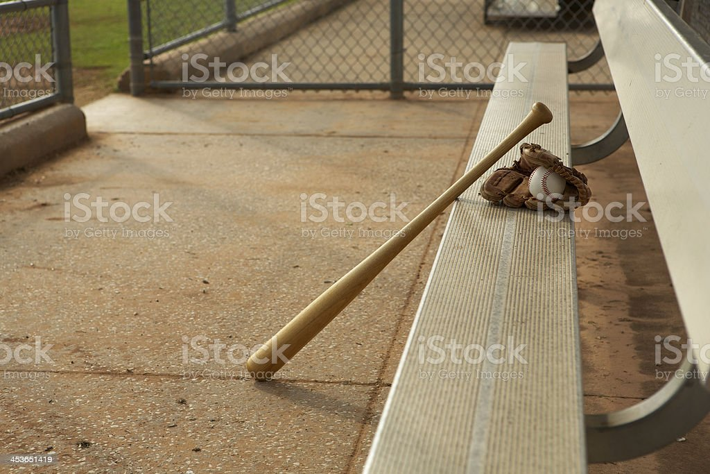 Basebal in the Dugout stock photo