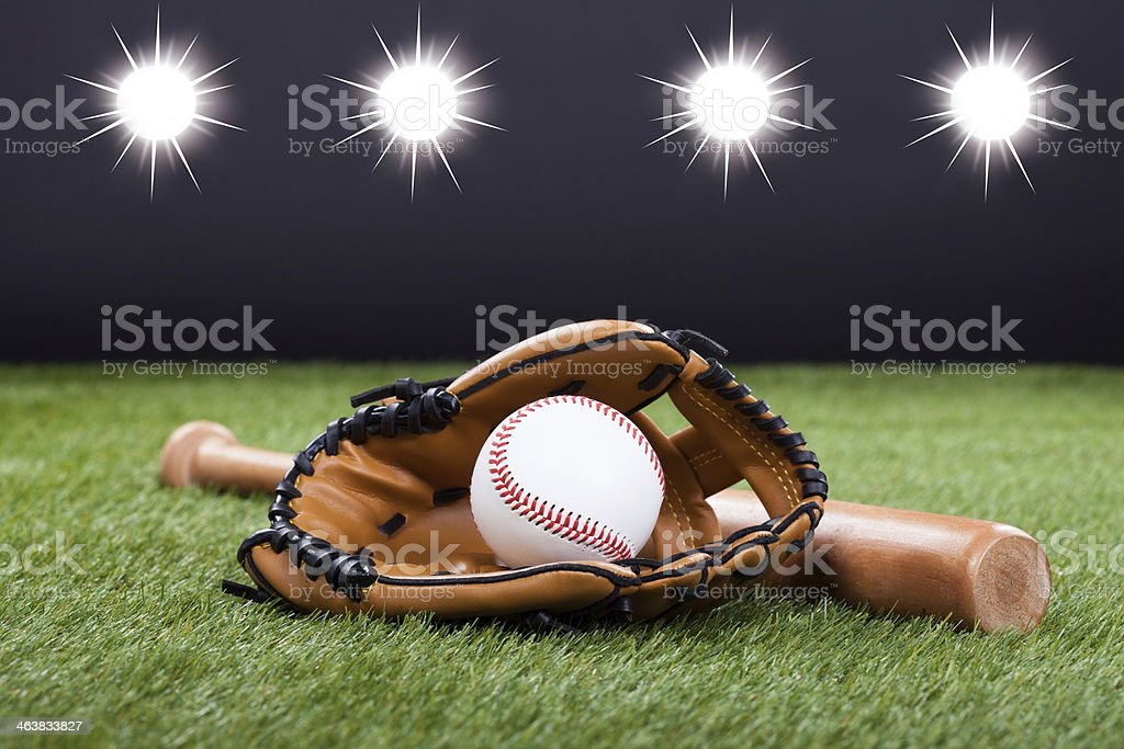 Baseball Accessories On Ground stock photo