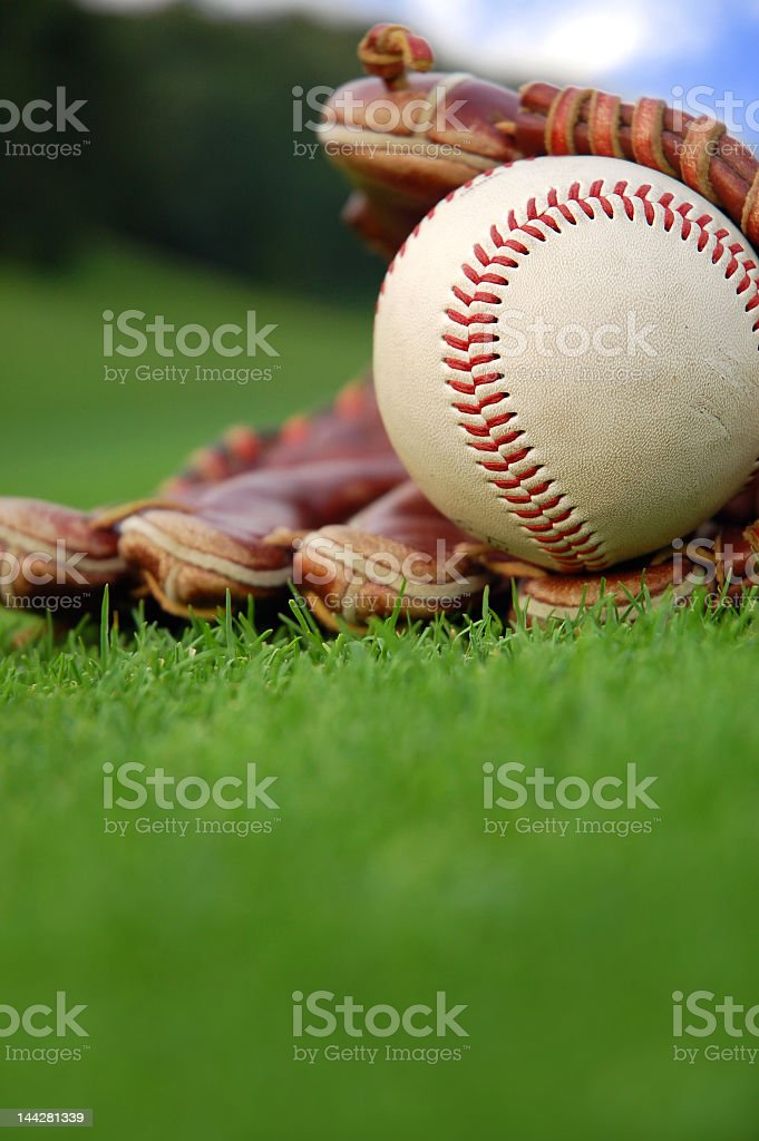 A baseball and a baseball glove on the green grass  stock photo