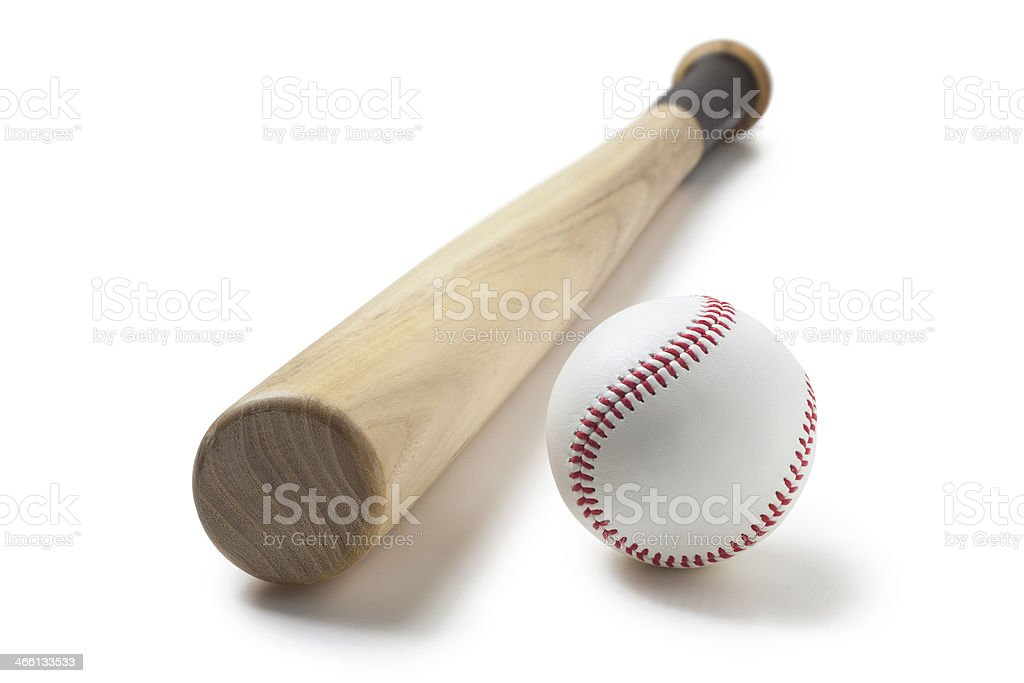 Baseball and baseball bat stock photo