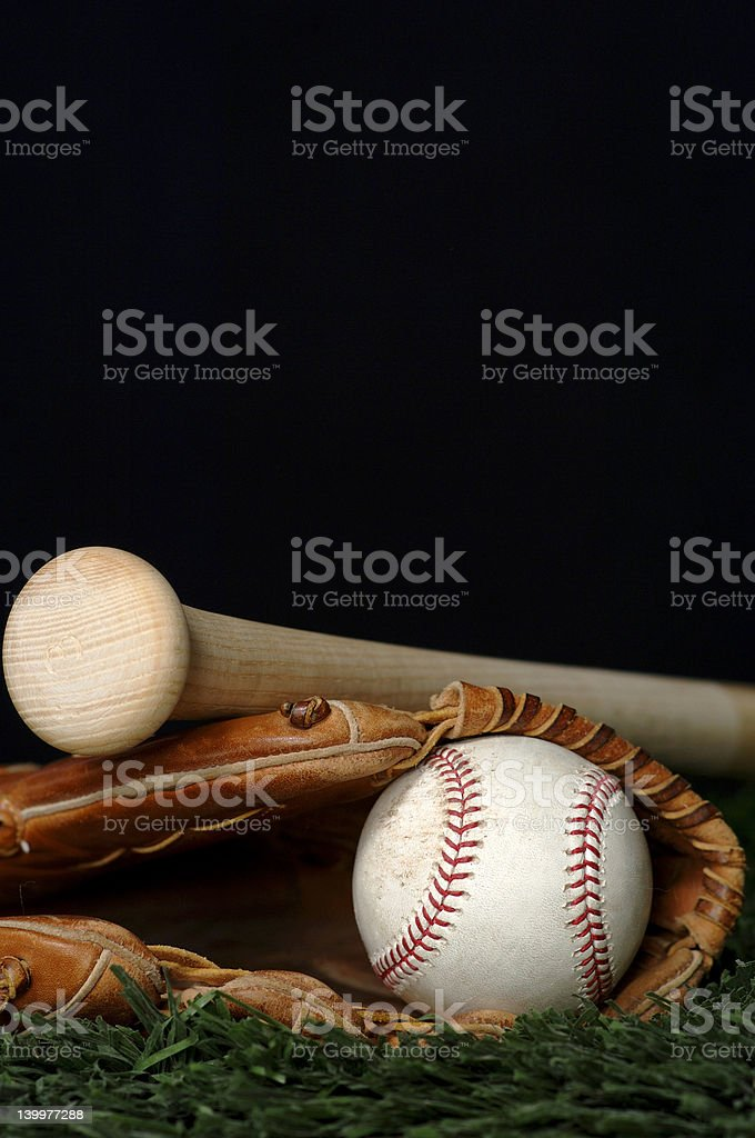 Baseball and Bat on black royalty-free stock photo