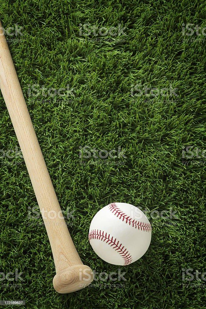 Baseball and Bat on Grass stock photo