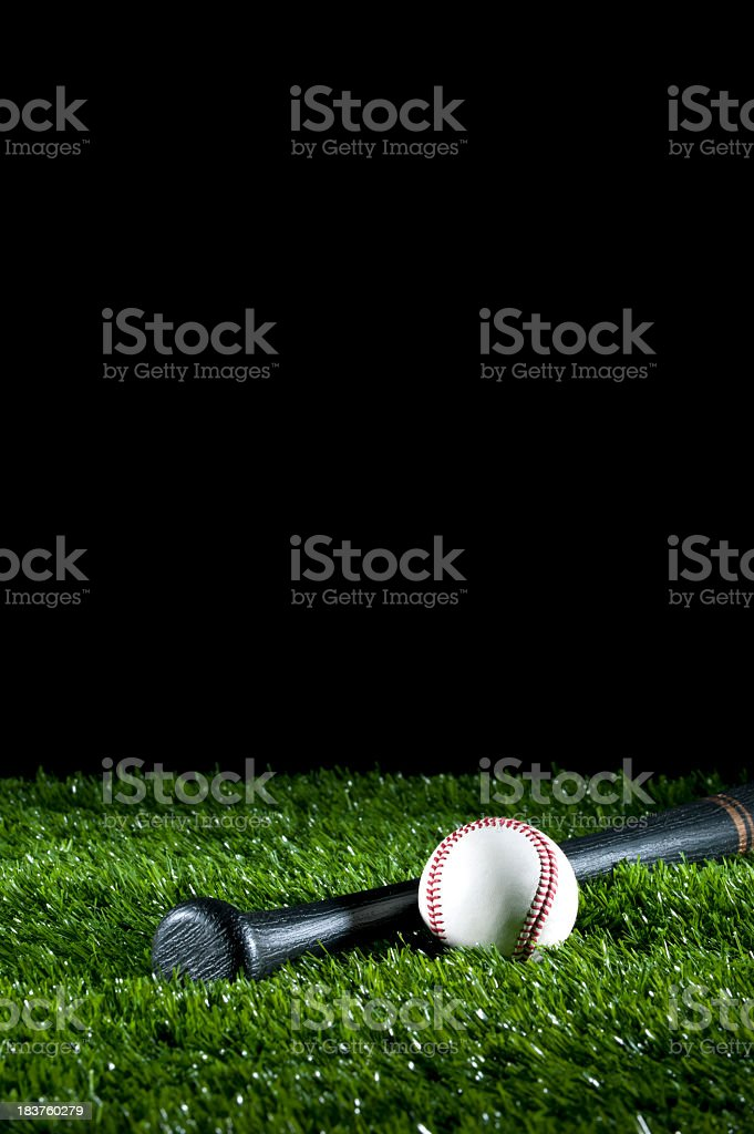 Baseball and bat on the grass royalty-free stock photo