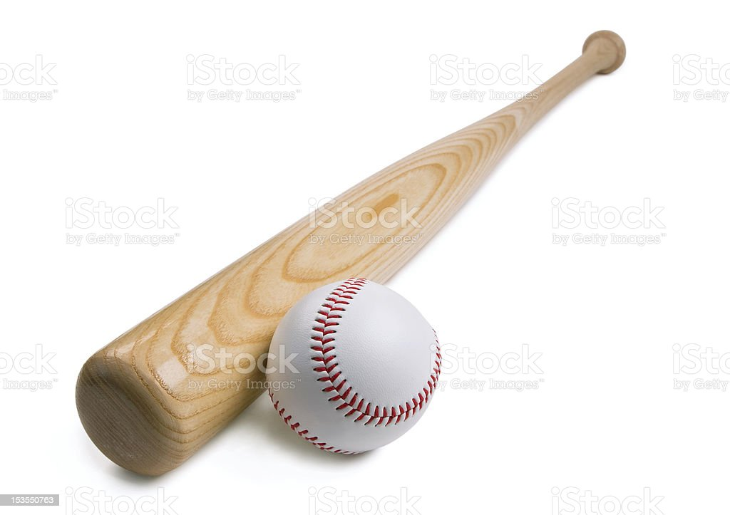 Baseball and bat stock photo