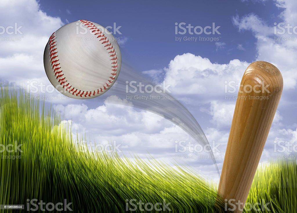 Baseball bat hitting fast hardball.