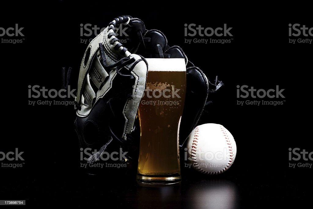 Baseball and beer royalty-free stock photo