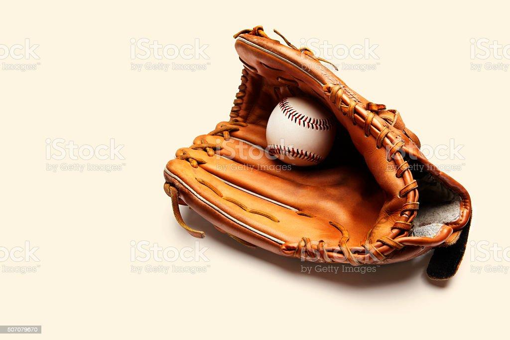 Baseball and catchers glove stock photo