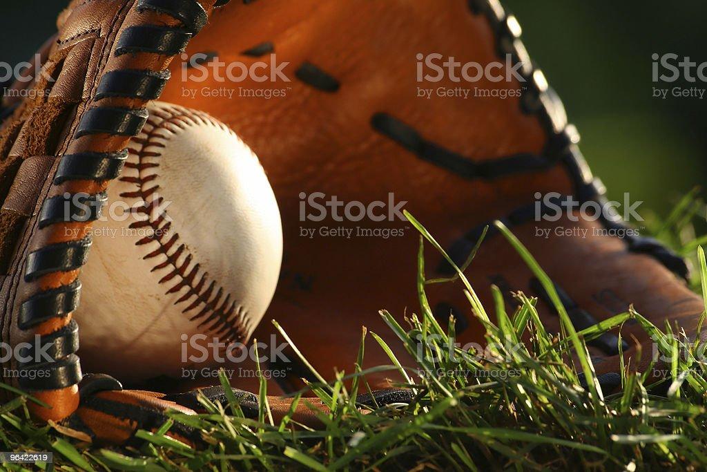 Baseball and glove closeup stock photo