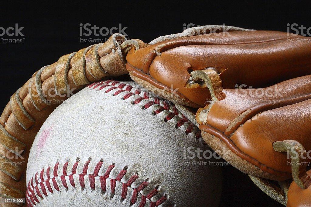 Baseball And Glove Macro stock photo