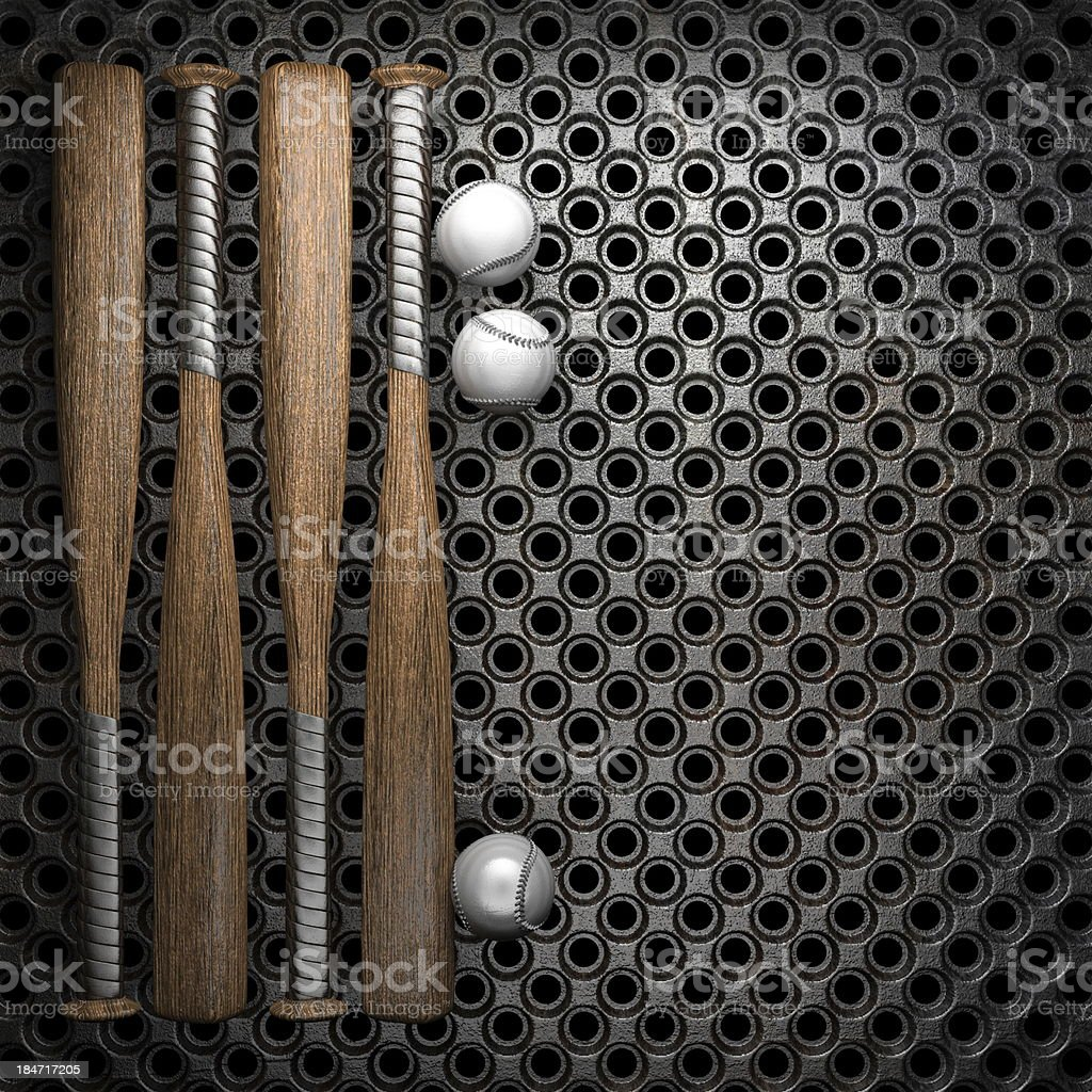 Baseball and metal wall background royalty-free stock photo