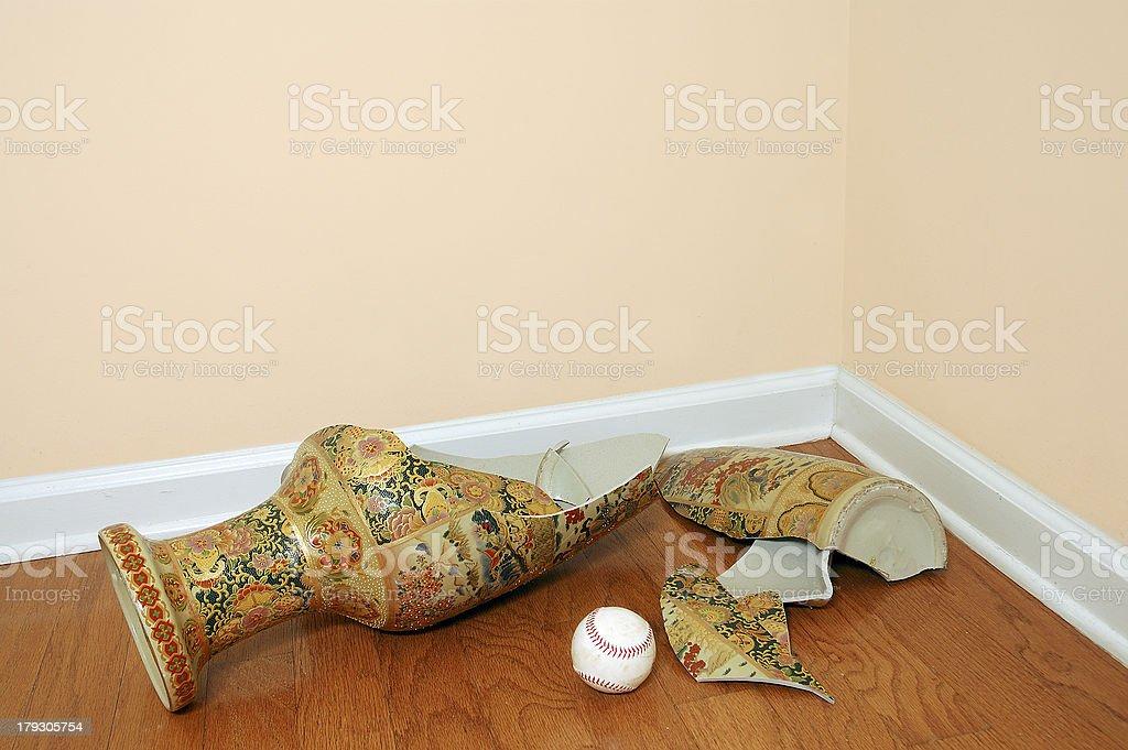 Baseball and Shattered Vase royalty-free stock photo
