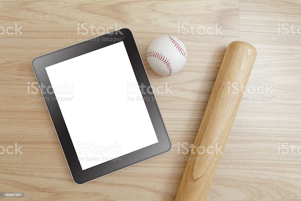 Baseball and tablet pc royalty-free stock photo