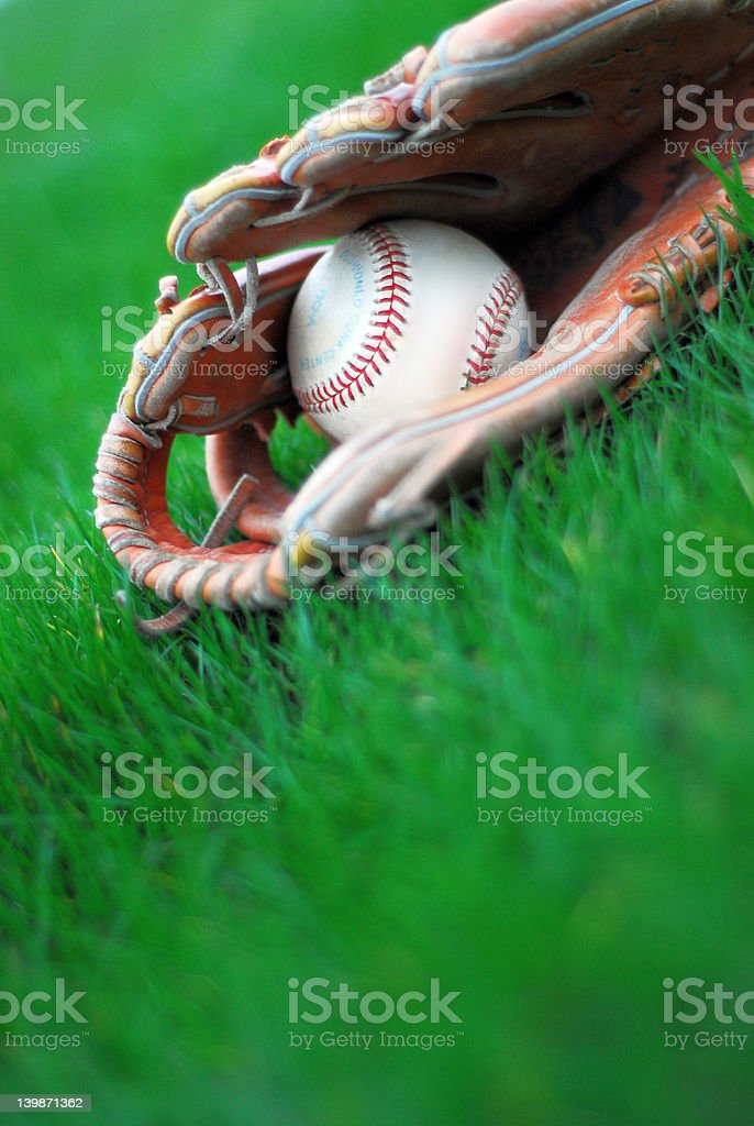 Baseball and the Grass stock photo