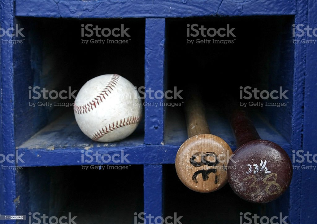 baseball and two bats stock photo
