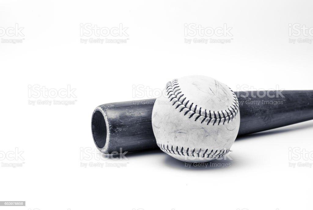 Baseball and wood bat stock photo