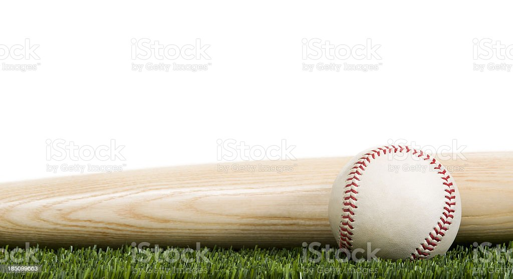 Baseball and wooden bat on Grass with white background stock photo