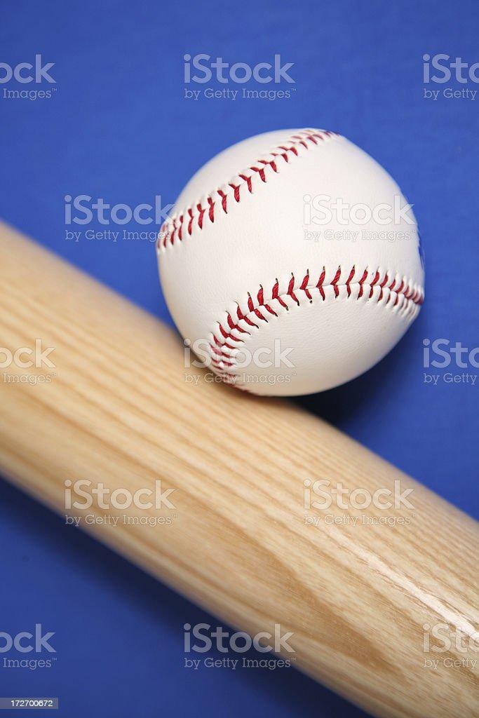 Baseball and wooden bat stock photo