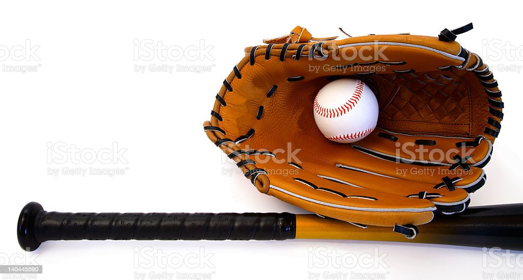 This is a close-up of a glove, a ball and a baseball bat isolated on...