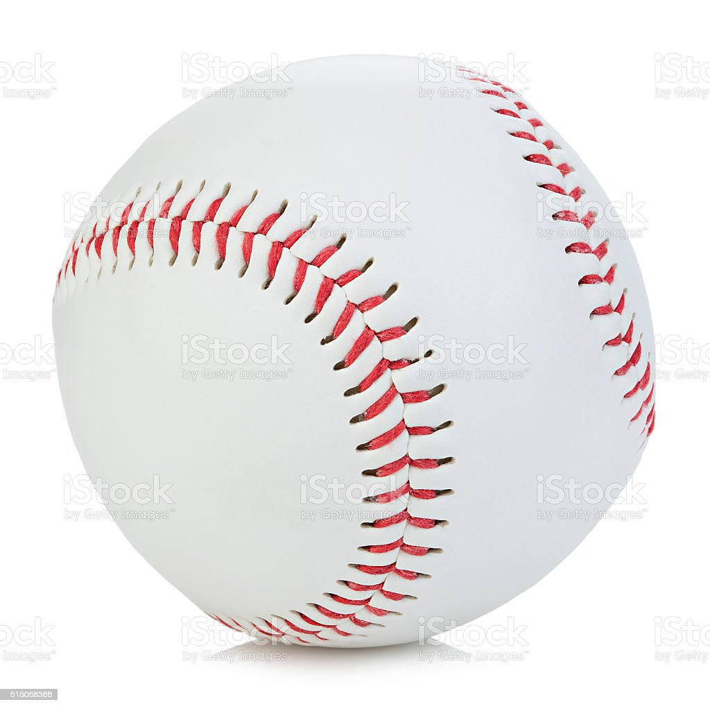 Baseball ball close-up on a white background. stock photo