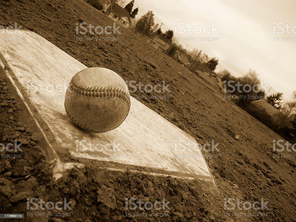 Baseball - Ball on Base Sepia stock photo