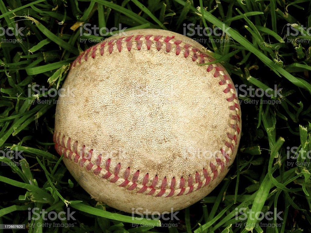 Baseball - Ball on Grass Close-Up royalty-free stock photo