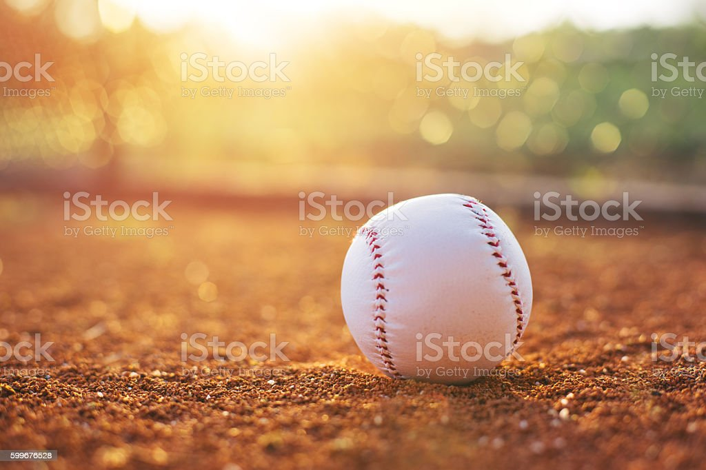 Baseball ball on pitchers mound stock photo