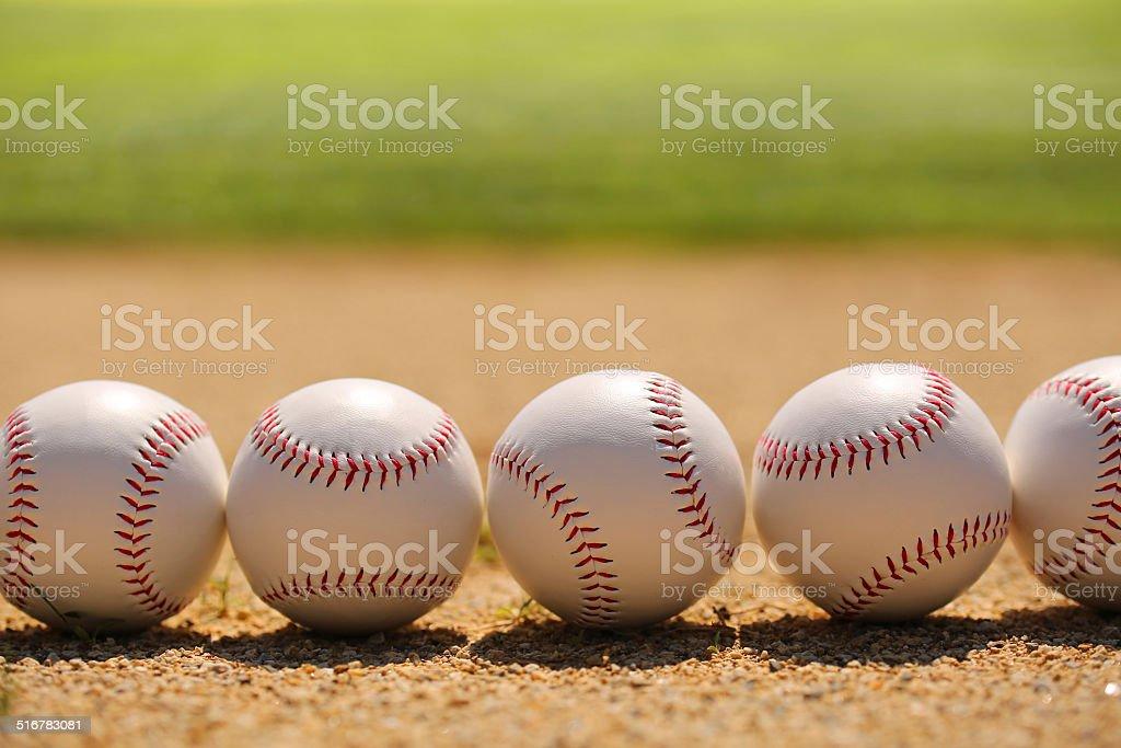 Baseball. Balls on Field stock photo