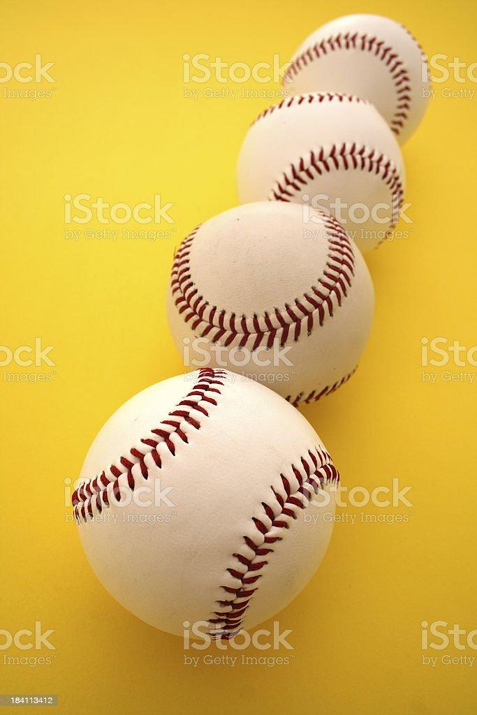 Baseball Balls on yellow Background royalty-free stock photo
