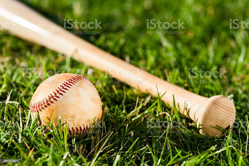 Baseball Bat and Ball on Grass Field stock photo